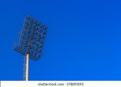 The lighting in the stadium.