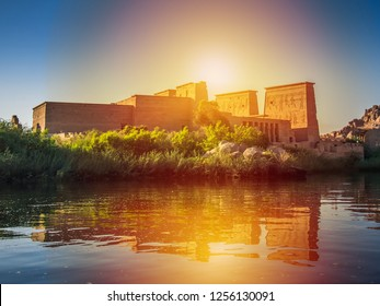 Lighting with the Temple of Philae , Aswan,egypt