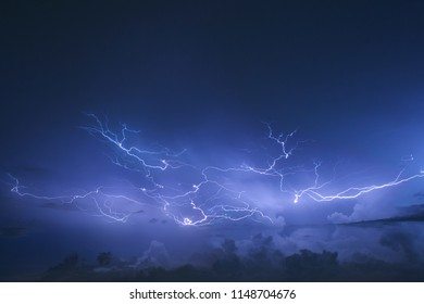 Lighting in the thunderstorm at bangkok, thailand