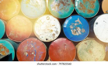 Lightleak colorful Old rusty Oil Barrel stacking background
