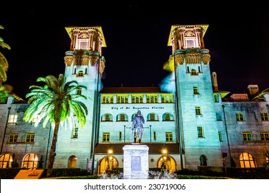 The Lightner Museum at night in St. Augustine, Florida.