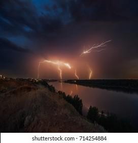 Lightning above the river