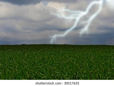 Lightning across the countryside field.