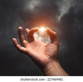 Lightning between two fingers