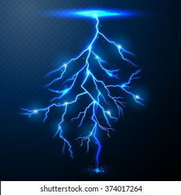 Lightning of blue on black background with transparency for design