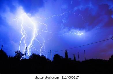 lightning in the blue sky
