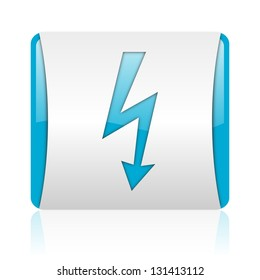 lightning blue and white square web glossy icon