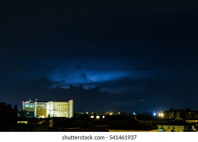 Lightning in Bologna during storm, Italy