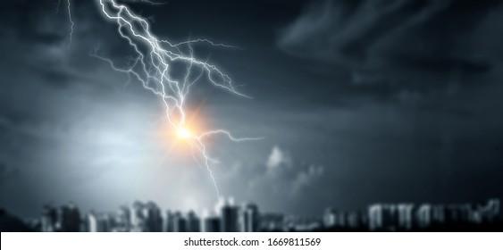 Lightning bolt at a dark night