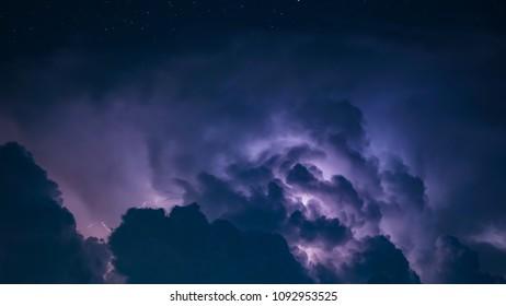 Lightning Bolt in Dark Storm Clouds