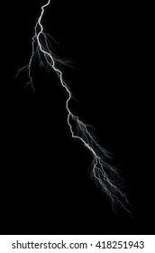 Lightning: lightning bolt, isolated against black ground