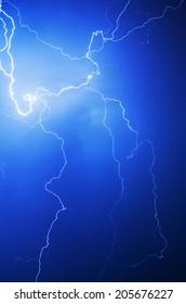 Lightning bolt in the night sky