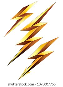 Lightning bolt set. 3d illustration