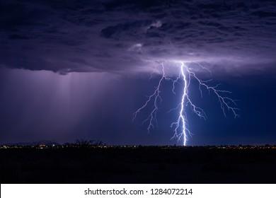 Lightning bolt strike in a storm.
