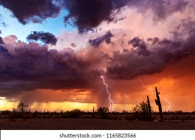 Lightning bolts strike from a sunset storm over the Arizona desert landscape.