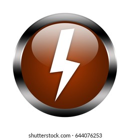 lightning button isolated, 3d illustration
