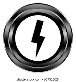 lightning button isolated . 3d illustration .