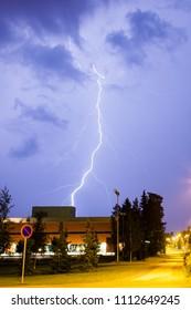 Lightning in city at night