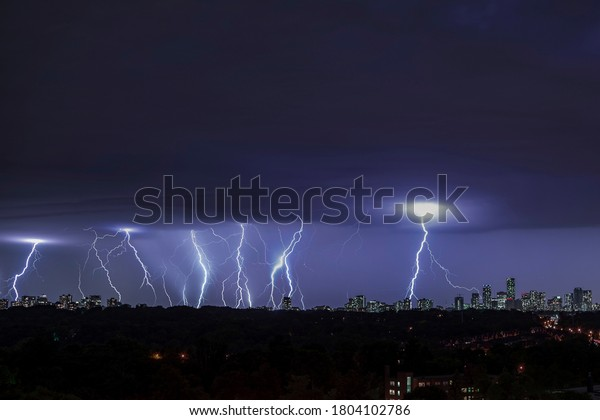 Lightning in the city of Toronto