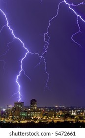 Lightning display over downtown Tucson