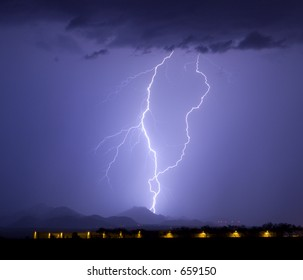 Lightning display in southwestern United States with airport hangers in the foreground