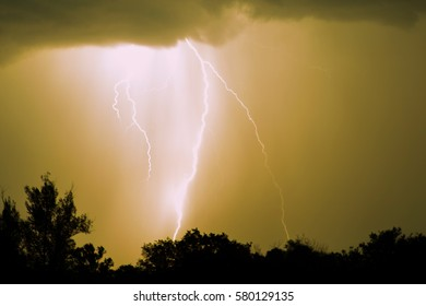 Lightning with dramatic clouds. Night thunder storm