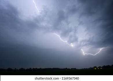 Lightning during a thunderstorm in the Netherlands