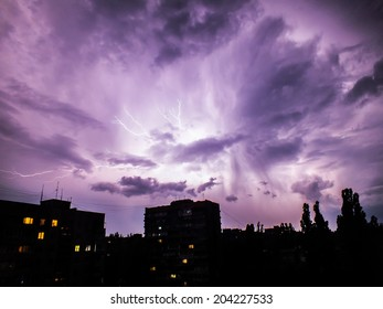 The lightning flash over night city