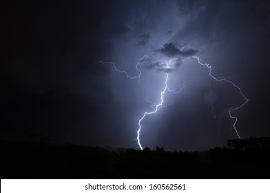 Lightning Flash in sky splitting and hitting the ground twice