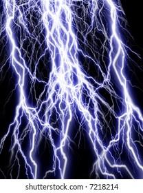 Lightning flashes on black background