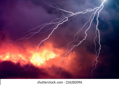Lightning in Front of a Dramatic Background