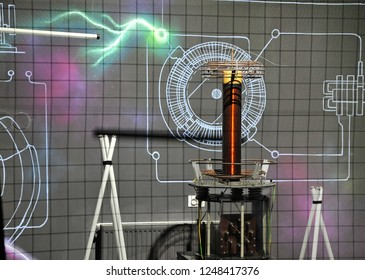 Lightning generator. Tesla coil. ** Note: Visible grain at 100%, best at smaller sizes