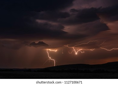 Lightning in the Great Plains at night