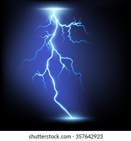 Lightning. Isolated on a black background. Stock illustration.