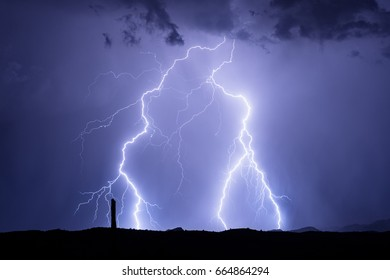 Lightning in a monsoon thunderstorm in Phoenix, Arizona