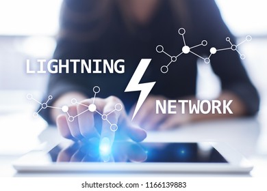 Lightning network - second layer payment protocol that operates on top of a blockchain. Bitcoin, cryptocurrency, internet payment.