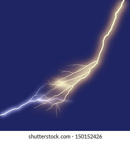lightning at night sky blue background