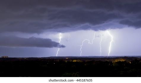 lightning on a background of the night sky