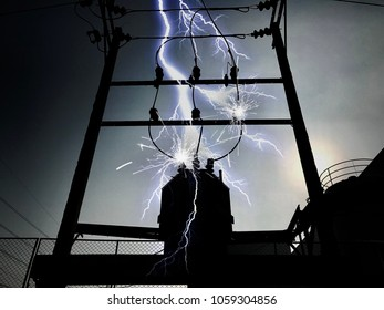 Lightning on a high voltage transformer