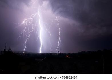 Lightning on my town