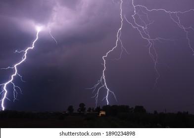 lightning on a stormy night