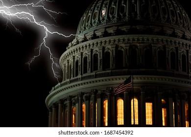 lightning on Washington DC Capitol at night