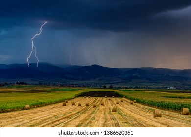 Lightning over the agricultural field. Thunderstorm and lightning over the agricultural field.