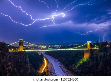 Lightning over the Clifton Suspension bridge, Bristol