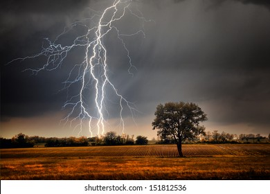 Lightning over field