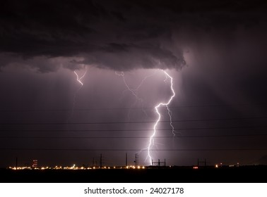 Lightning over an industrial area
