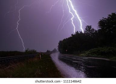 Lightning over lake Balaton. Summer thunderstorm.