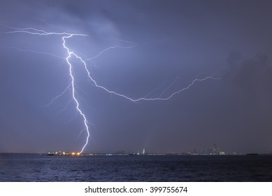 Lightning over New York Harbor and the Statue of Liberty