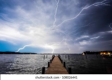 Lightning Over Pier in Deltaville, Virginia