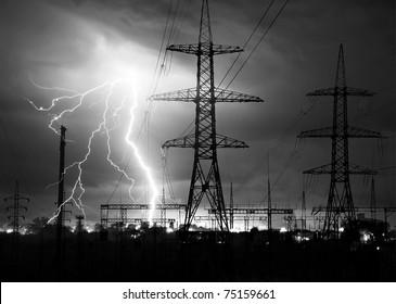 lightning over power station